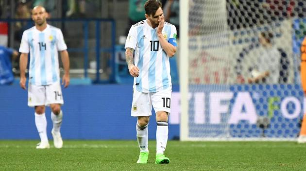 Argentina's forward Lionel Messi (C) reacts after Croatia scored their third goal during their FIFA World Cup 2018 Group D match.(AFP)