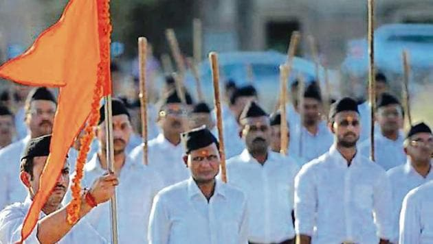 RSS cadres are deputed to help their political protégé BJP in elections, and will undoubtedly play a key role in the states slated for polls later this year and nationwide in the Lok Sabha polls next year.(AFP File Photo)