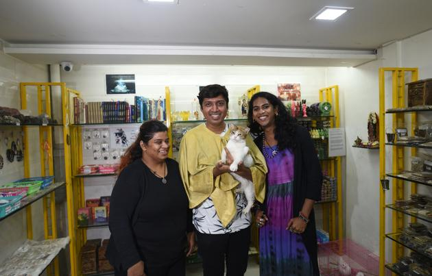(left to right) Zoya Lobo, Angel Serrao and Sonal Bhonsale at The Wiccan shop in Mahim.(Satyabrata Tripathy/HT Photo)