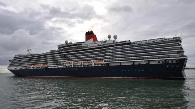 "The Cunard Cruise Liner MS Queen Victoria leaves after a port call at the ""Grand port Atlantique"" harbour in La Rochelle on April 10, 2018. / AFP PHOTO / XL / XAVIER LEOTY(AFP File Photo)"