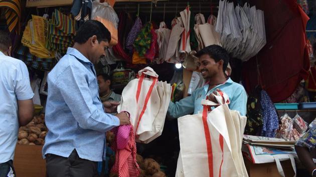 A man at a cloth bag shop in Thane.(Praful Gangurde)