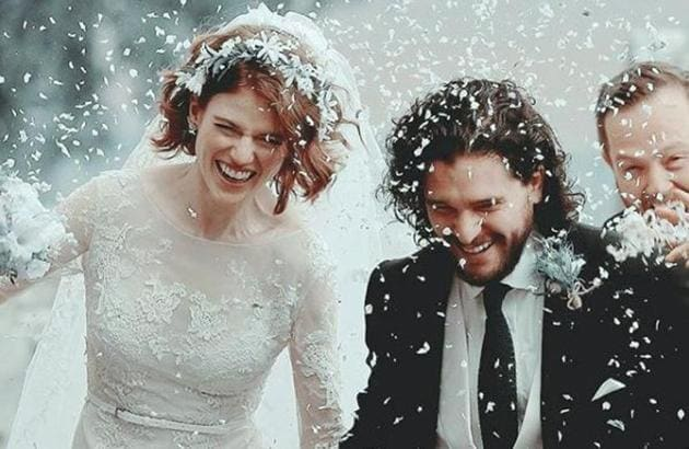 Here's the dress Rose Leslie wore to marry Kit Harington. A vision in white lace, right? And that flower crown! (Instagram)