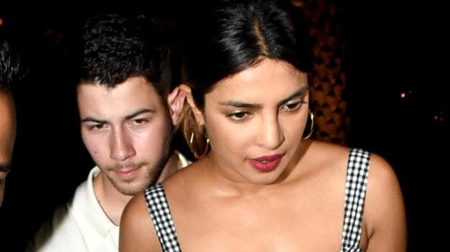 On Friday evening, actor Priyanka Chopra and American singer-songwriter Nick Jonas hosted an intimate party at her Juhu home for her Bollywood friends.(PTI)