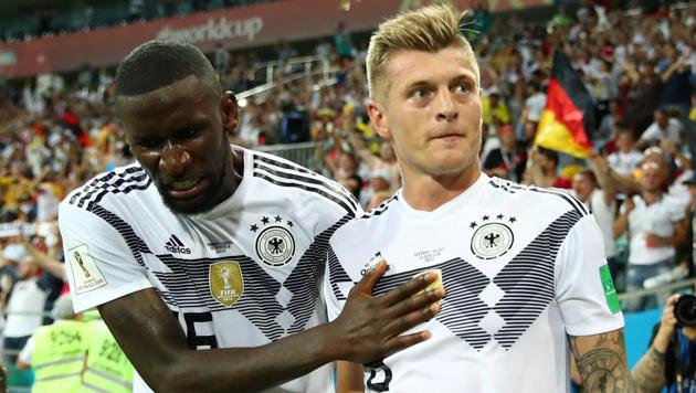 <p>Germany's Toni Kroos (R) celebrates scoring their second goal vs Mexico with Antonio Rudiger at the Fisht Stadium, Sochi, Russia on June 23, 2018.  </p>...
