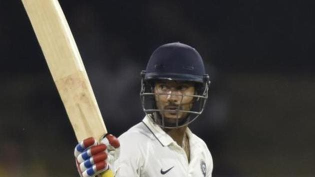 Mayank Agarwal scored 112 in 102 balls for India A against West Indies A.(Virendra Singh Gosain/HT PHOTO)