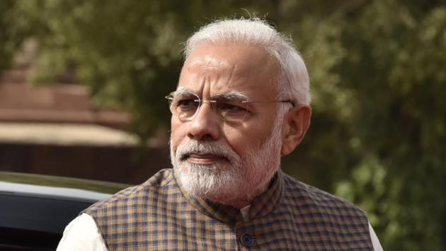 Prime Minister Narendra Modi at Rashtrapati Bhawan, in New Delhi, on Monday.(Sonu Mehta/HT Photo)