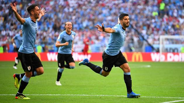 <p>Uruguay registered a 3-0 win vs Russia in the final FIFA&thinsp;World Cup 2018 Group A match at the Samara Arena, Samara, Russia on June 25, 2018. </p>...