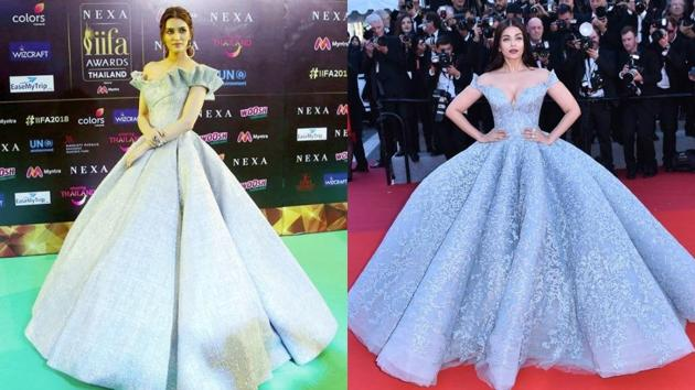 At IIFA 2018, Kriti Sanon's silver ball gown from Mark Bumgarner was reminiscent of Aishwarya Rai's Michael Cinco gown from Cannes Film Festival 2017.(Instagram)