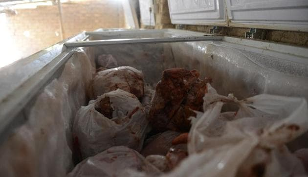 The Bengal Police seized 20 tons of carcass meat kept in freezers (in pic) from a cold storage in Kolkata on April 24.(Samir Jana/ HT Photo)