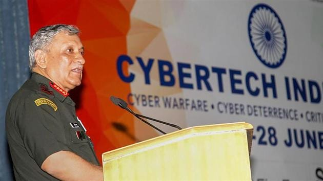 """Army chief General Bipin Rawat addresses seminar on Cyber Warfare, Cyber Deterrence and Critical Infrastructure Security """"CYBERTCH INDIA – 2018"""", in New Delhi.(PTI Photo)"""