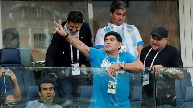 Argentina legend Diego Maradona required treatment after his nation reached the last 16 at the FIFA World Cup.(REUTERS)