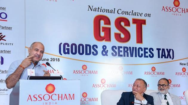 Delhi deputy chief minister Manish Sisodia addresses 'ASSOCHAM National Conclave on GST', in New Delhi on Wednesday.(PTI Photo)