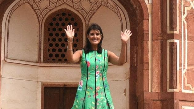 US envoy to the UN Nikky Haley during her visit to Humayun's Tomb in New Delhi on Wednesday.(Arvind Yadav / HT Photo)