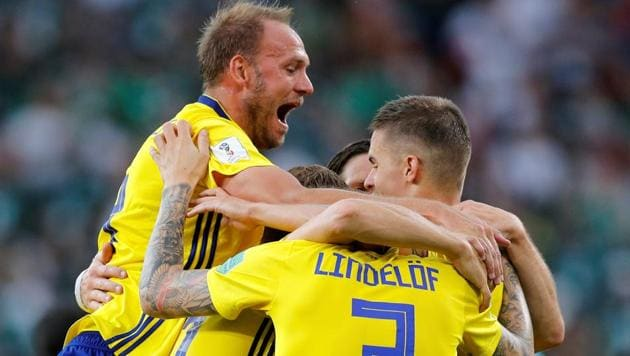 Sweden's Andreas Granqvist celebrates after scoring against Mexico during their FIFA World Cup 2018 encounter on Wednesday.(REUTERS)