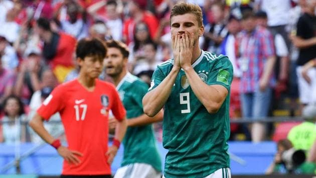 Germany's forward Timo Werner reacts after failing to score during the 2018 FIFA World Cup Group F match between South Korea and Germany at the Kazan Arena in Kazan on June 27, 2018. Germany lost 2-0.(AFP)