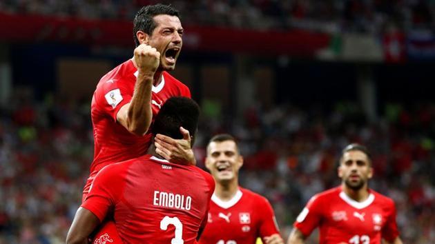 Switzerland's Blerim Dzemaili celebrates scoring their first goal against Costa Rica in the FIFA World Cup 2018.(REUTERS)