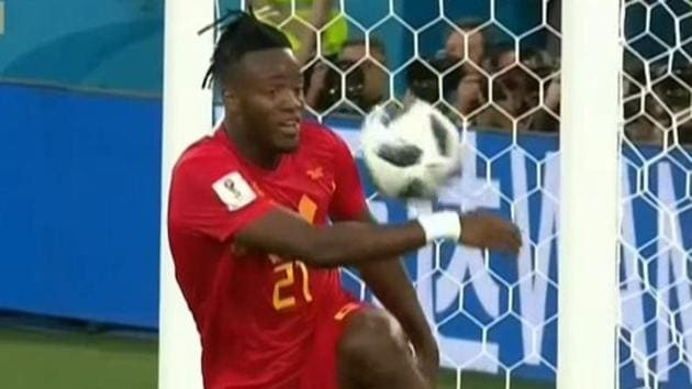 Michy Batshuayi meant to kick the ball into the back of the net but it rebounded off the post and struck him in the face instead.(Twitter)