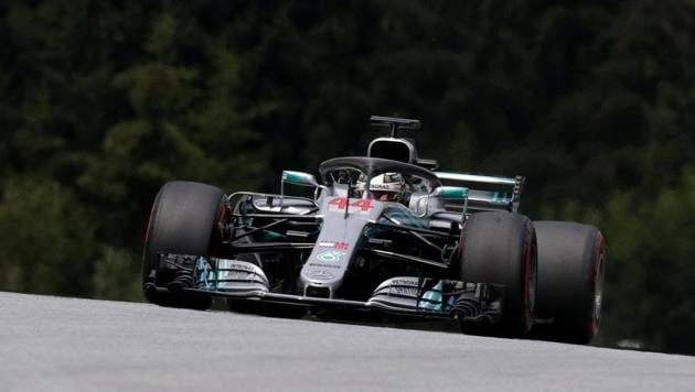 Mercedes' Lewis Hamilton during practice at the Formula One Austrian Grand Prix in Spielberg on Friday.(Reuters)