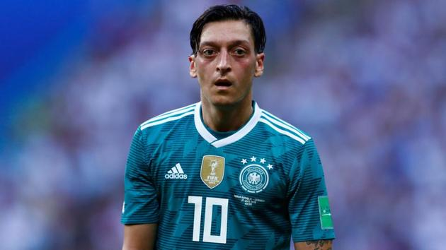 Germany's midfielder Mesut Ozil looks on during the 2018 FIFA World Cup Group F football match between South Korea and Germany at the Kazan Arena in Kazan on June 27, 2018.(AFP)