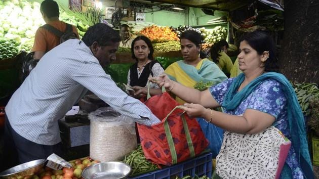 PMC collected 1,674 kgs of plastic on June 27 while it could only collect 309 kgs of plastic on June 28.(Ravindra Joshi/HT PHOTO)