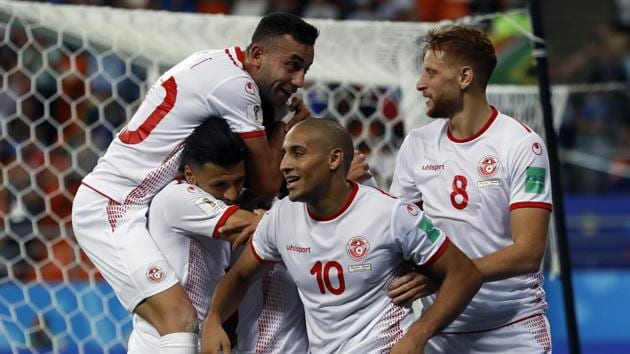 Tunisia's Wahbi Khazri (10) celebrates with teammates after scoring his side's second goal during the Group G match against Panama at the 2018 FIFA World Cup at the Mordovia Arena in Saransk on Thursday.(AP)
