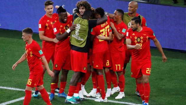 Belgium's Adnan Januzaj celebrates scoring their goal with teammates in their FIFA World Cup Group G game vs England at the Kaliningrad Stadium on Thursday.(Reuters)