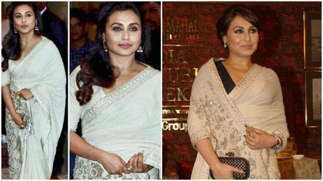 Rani Mukerji in her Sabya saree, a piece she wore once before in 2014. (Instagram)