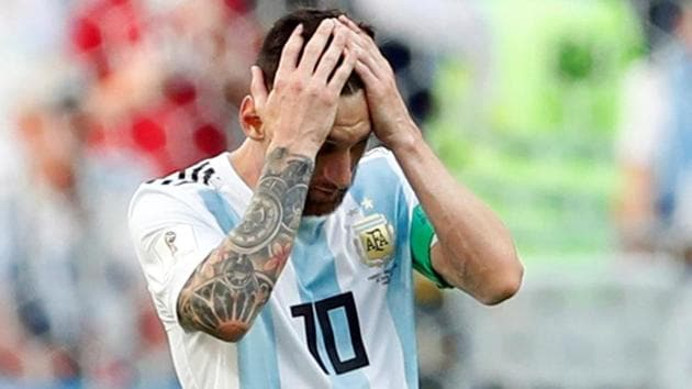 Argentina's Lionel Messi reacts after the loss to France in the FIFA World Cup 2018 Round of 16 in Kazan.(REUTERS)