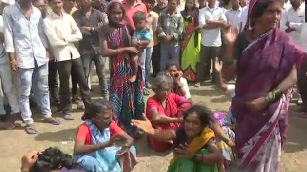 Families of victims who were lynched in Dhule on suspicion of being child lifters on July 2.(ANI Photo/Twitter)