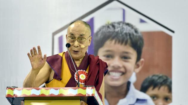 The Dalai Lama addresses teachers after the inauguration of Happiness Curriculum of the Delhi government at Thyagraj Sports Complex in New Delhi, India on Monday, July 2, 2018.(Sonu Mehta/HT Photo)