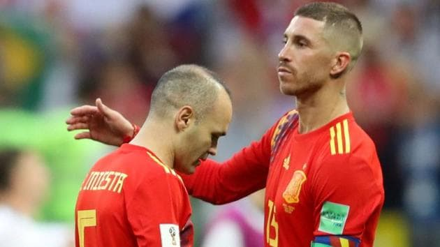 Spain's Andres Iniesta and Sergio Ramos look dejected after losing the penalty shootout against Russia in the FIFA World Cup 2018.(REUTERS)