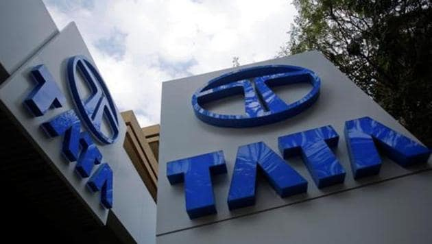 Tata Motors logos are seen at their flagship showroom before the announcement of their Q3 results in Mumbai.(Reuters File Photo)