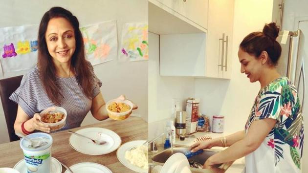 Esha Deol and Hema Malini are holidaying at an unknown destination.(Instagram/Esha Deol)