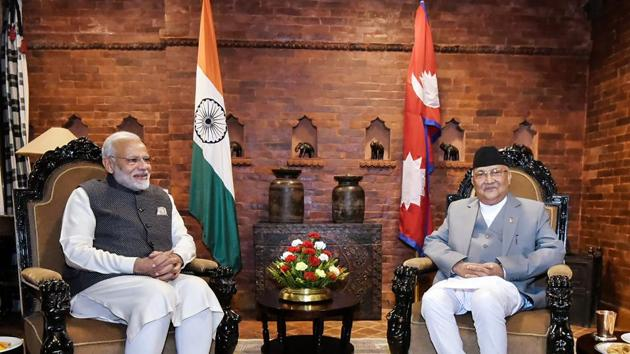 Prime Minister Narendra Modi with his Nepali counterpart KP Sharma Oli during delegation level talks in Kathmandu earlier this year(PTI)