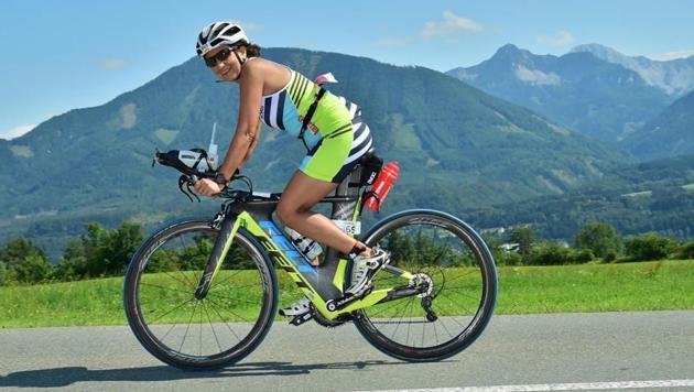 Anju Khosla on July 1 completed the Ironman Triathlon in Carinthia, Austria.(HT Photo)