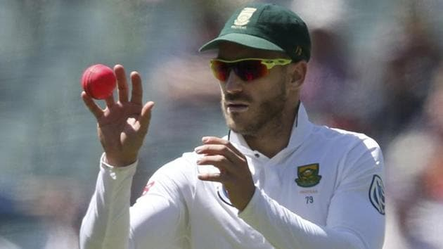 South Africa's Faf du Plessis was found guilty of changing the condition of the ball during the test in Hobart by applying spit to the ball while licking a boiled sweet.(AP)