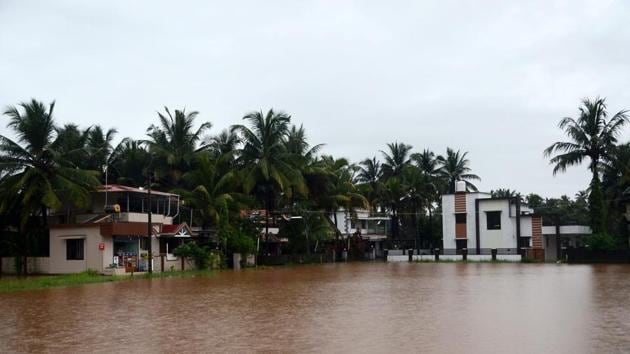 A view of waterlogged Mulky Soorinje outskirts of Mangaluru after torrential rain.(PTI Photo)