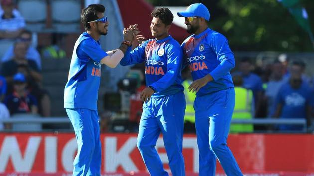 India's Kuldeep Yadav (C) has been very effective in limited over cricket.(AFP)