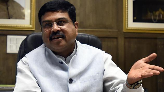 Union minister of Petroleum and Natural Gas Dharmendra Pradhan did not offer a specific comment on whether India would reduce its dependence in the backdrop of US indications that sanctions would not apply to such countries(Sonu Mehta/HT File Photo)
