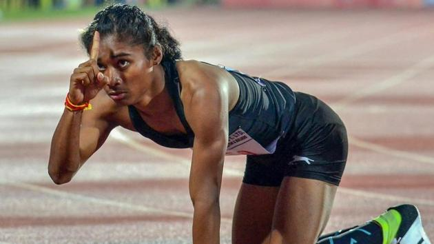 Hima Das having upstaged seasoned domestic rivals to win the event at last month's Inter-State Athletics Championships in Guwahati, clocking 51.13 secs to qualify for the Jakarta Asian Games.(Twitter)