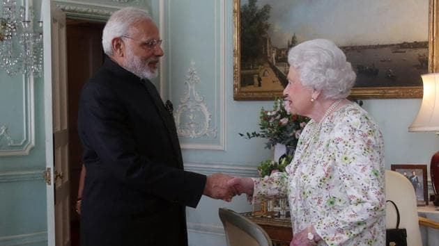 Prime Minister Narendra Modi meets Britain's Queen Elizabeth II during a private audience at Buckingham Palace in London on April 18, 2018.(AFP File Photo)
