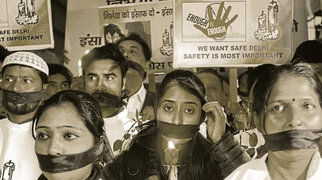 Students protest against the December 16, 2012 gangrape of a 23-year-old paramedic student in Delhi.(HT file photo)