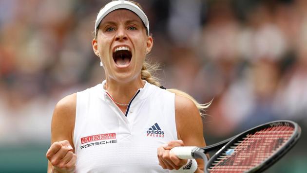 Angelique Kerber reacts during her Wimbledon quarter final match against Russia's Daria Kasatkina.(REUTERS)