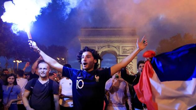 France fans react after defeating Belgium in their World Cup semi-final match.(REUTERS)