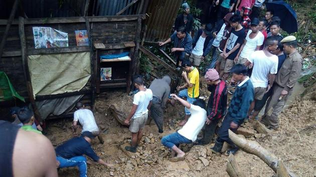 Recovery efforts to rescue people caught in a deadly landslide that hit a remote area in Manipur's Tamenglong district.(AFP)