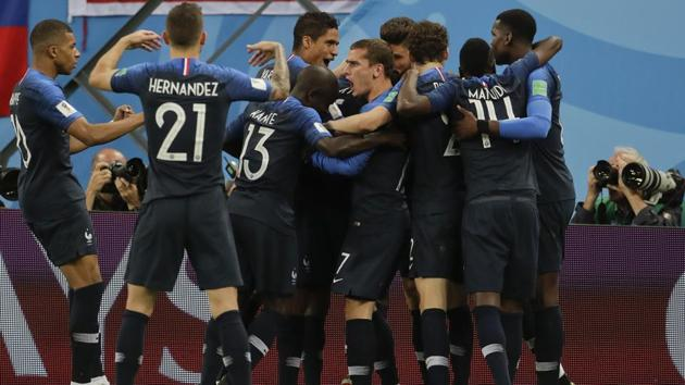 France players celebrate after Samuel Umtiti scored his side's goal during the FIFA World Cup semi-final against Belgium at the St. Petersburg Stadium on Tuesday.(AP)