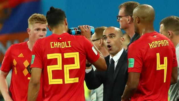 Belgium coach Roberto Martinez gives instructions to his team during their FIFA World Cup 2018 match against France.(REUTERS)