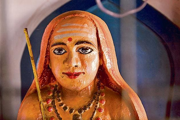 An Adi Sankara statue at the Vadakke Madham Brahmaswam in Thrissur, Kerala.(Getty Images)