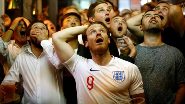 England fans react during their team's FIFA World Cup 2018 semi-final match against Croatia on Wednesday.(REUTERS)