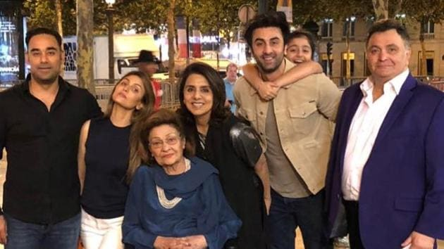 Krishna Kapoor (third from left) with her family in Paris.